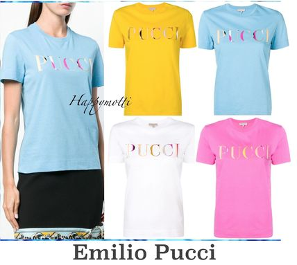 Silk Plain Short Sleeves Logo T-Shirts