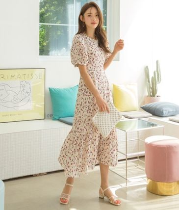 Crew Neck Flower Patterns Puffed Sleeves Flared Long