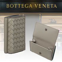 BOTTEGA VENETA Unisex Lambskin Bi-color Plain Folding Wallets