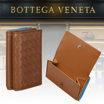 BOTTEGA VENETA Lambskin Bi-color Plain Folding Wallets