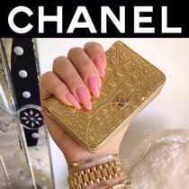 CHANEL ICON Crocodile Blended Fabrics Street Style Handmade Coin Cases