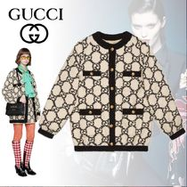 GUCCI Monogram Tweed Medium Oversized Elegant Style Jackets