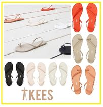 TKEES Open Toe Street Style Plain Leather Elegant Style Shoes