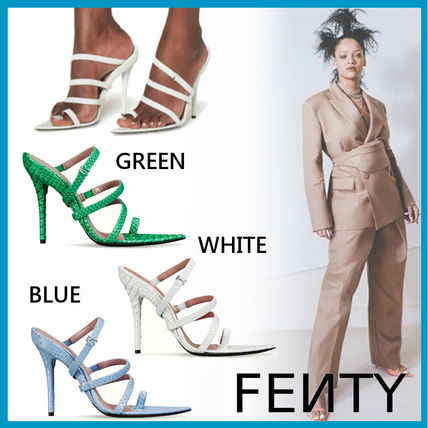 new concept eb2c8 4ab5a FENTY 2019 SS Open Toe Plain Leather Pin Heels Python Elegant Style