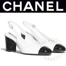 CHANEL ICON Plain Toe Casual Style Street Style Bi-color Leather