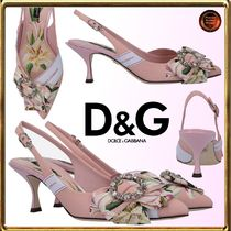 Dolce & Gabbana Flower Patterns Elegant Style Pointed Toe Pumps & Mules