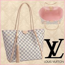 Louis Vuitton DAMIER AZUR Other Check Patterns Canvas Blended Fabrics A4 2WAY Bi-color