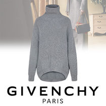 GIVENCHY Cable Knit Casual Style Wool Blended Fabrics Long Sleeves