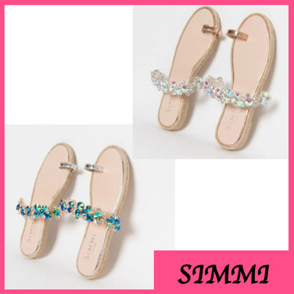 Open Toe Casual Style Faux Fur Plain With Jewels Sandals