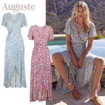 Auguste Wrap Dresses Flower Patterns Casual Style V-Neck Long