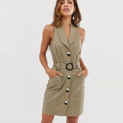 Casual Style Sleeveless V-Neck Plain Shirt Dresses