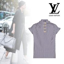 Louis Vuitton Stripes Cotton Short Sleeves Elegant Style Shirts & Blouses