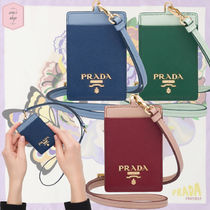 PRADA Saffiano Blended Fabrics Plain With Jewels Card Holders