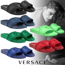 VERSACE Street Style Plain Shower Shoes PVC Clothing Shower Sandals