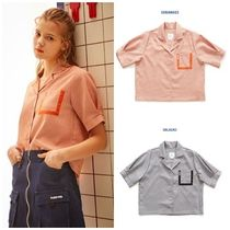 OoH AHh Other Check Patterns Street Style Medium Short Sleeves