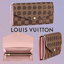 Louis Vuitton PORTEFEUILLE SARAH Other Check Patterns Canvas Blended Fabrics Bi-color