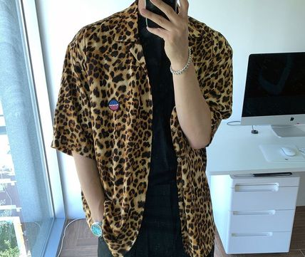 ASCLO Shirts Leopard Patterns Unisex Street Style Short Sleeves Oversized 2