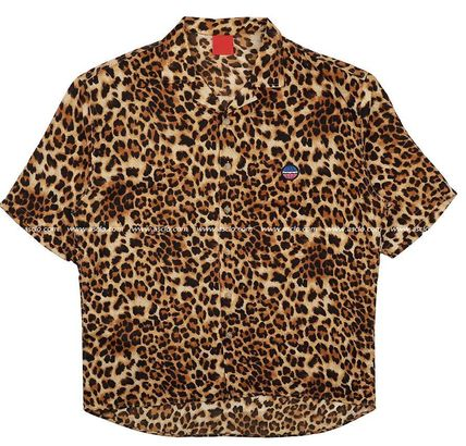 ASCLO Shirts Leopard Patterns Unisex Street Style Short Sleeves Oversized 9