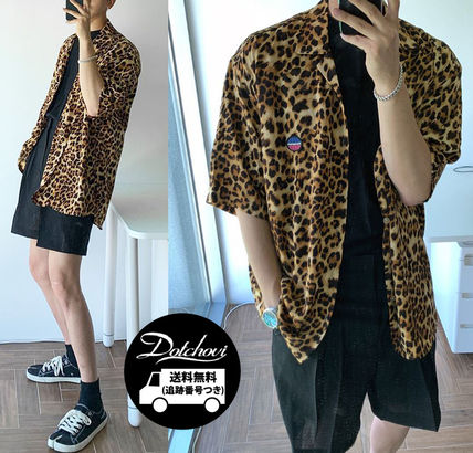 ASCLO Shirts Leopard Patterns Unisex Street Style Short Sleeves Oversized