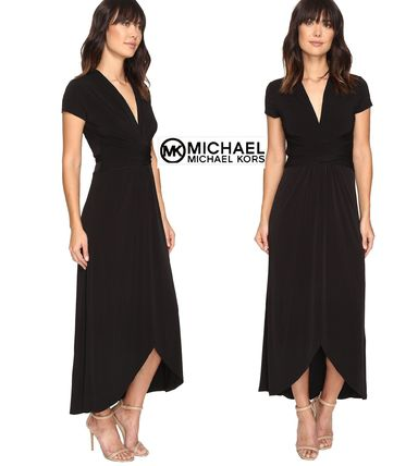Casual Style Maxi Plain Long Short Sleeves Dresses