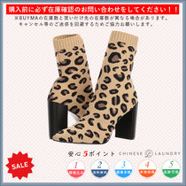 CHINESE LAUNDRY Leopard Patterns Casual Style Chunky Heels High Heel Boots