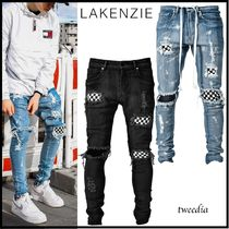 LAKENZIE Other Check Patterns Denim Street Style Plain Jeans & Denim