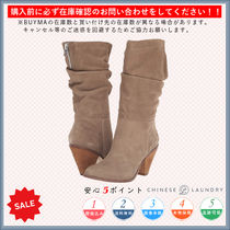 CHINESE LAUNDRY Round Toe Casual Style Chunky Heels High Heel Boots
