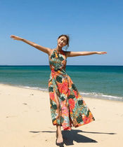 Tropical Patterns Casual Style Maxi Sleeveless Halter Neck