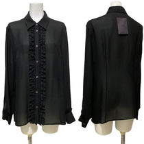 PRADA Silk Long Sleeves Plain Office Style Shirts & Blouses