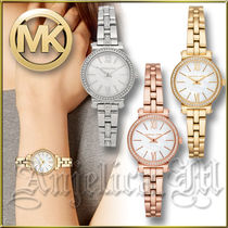 Michael Kors Blended Fabrics Round Quartz Watches Stainless With Jewels
