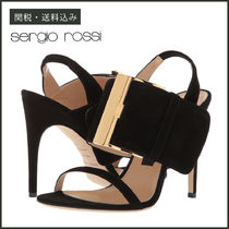 Sergio Rossi Open Toe Plain Leather Pin Heels Party Style Heeled Sandals