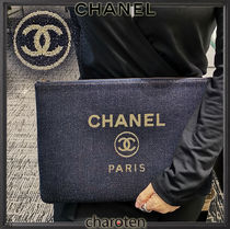 CHANEL DEAUVILLE Casual Style Unisex Canvas Bag in Bag 2WAY Plain Clutches