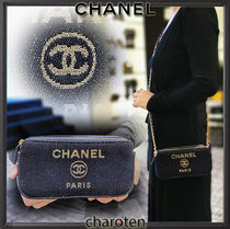 CHANEL DEAUVILLE Canvas 3WAY Chain Plain Elegant Style Shoulder Bags