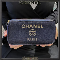 CHANEL DEAUVILLE Canvas 3WAY Chain Plain Elegant Style Crossbody Glitter