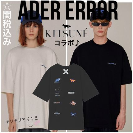 ADERERROR More T-Shirts Unisex Street Style U-Neck Collaboration Plain Cotton