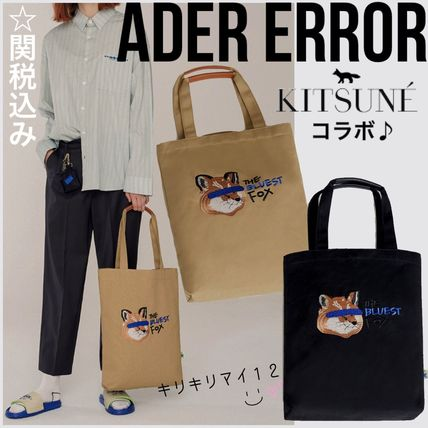 Unisex Street Style Collaboration A4 Plain Totes