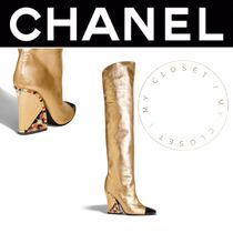 CHANEL ICON Square Toe Blended Fabrics Plain Leather Block Heels