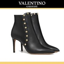 VALENTINO Studded Leather High Heel Boots