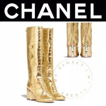 CHANEL ICON Square Toe Blended Fabrics Other Animal Patterns Leather