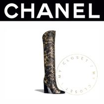 CHANEL ICON Square Toe Blended Fabrics Leather Block Heels Handmade