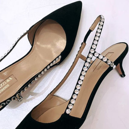 Suede Plain Pin Heels With Jewels Pointed Toe Pumps & Mules