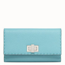 FENDI Calfskin Plain Logo Long Wallets