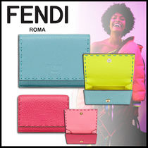 FENDI SELLERIA Calfskin Plain Folding Wallet Logo Folding Wallets
