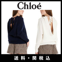 Chloe Crew Neck Casual Style Cashmere Long Sleeves Plain Cashmere