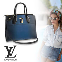 Louis Vuitton CITY STEAMER Street Style 2WAY Leather Elegant Style Handbags