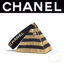 CHANEL Stripes Lambskin Street Style Vanity Bags Party Style Purses