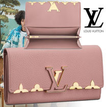 Louis Vuitton CAPUCINES Flower Patterns Blended Fabrics Plain Leather Handmade