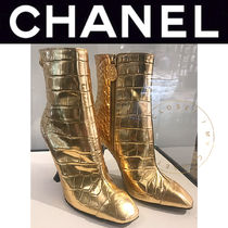 CHANEL ICON Plain Toe Street Style Other Animal Patterns Leather