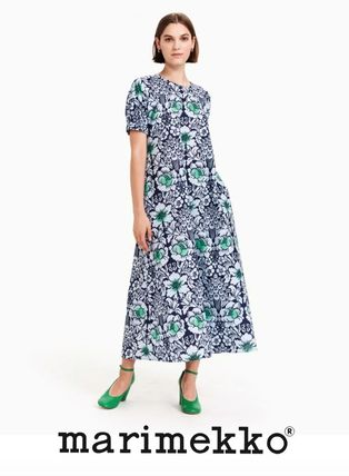 Crew Neck Flower Patterns A-line Cotton Long Short Sleeves