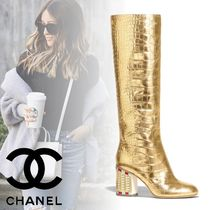 CHANEL Plain Toe Blended Fabrics Other Animal Patterns Leather